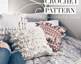 Crochet Pattern / Textured Loop Pillow Wool