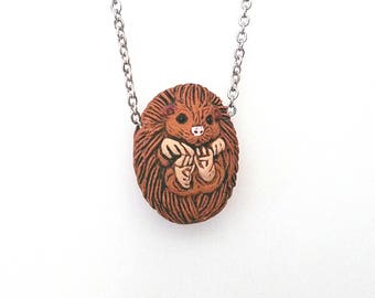 Personalized hedgehog necklace Hedgehog jewelry Animal lover gift Woodland animals Animal jewelry Forest animals Animal totem Spirit animal