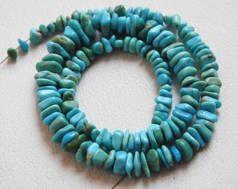 """1. Strand 12"""" Arizona Turquoise Rough Beads """"Polished"""" 8X6 To 5X3 MM Approx 100% Natural Finest Quality Wholesale Price New Arrival (ms)"""