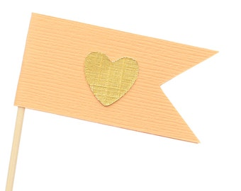 Peach and Gold Flag Heart Cupcake Toppers / Appetizer Picks / Food Picks /