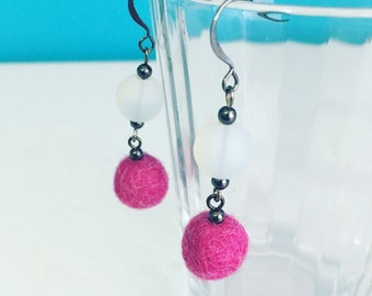 Newport Felt Earrings in Dark Pink, Spring Jewelry, Eco Friendly, Recycled Glass, Dangle Earrings, Mother's Day Gift, Gift Under 20