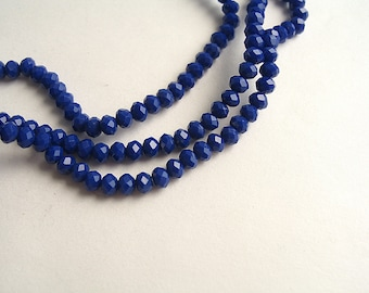150 pumpkin faceted indigo blue 3mm glass beads
