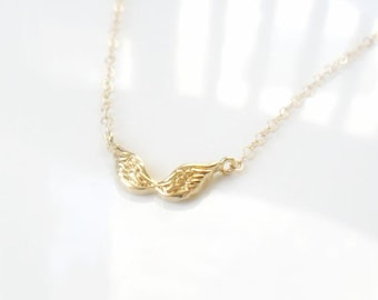 Gold Wings Dainty Layering Necklace / Gift for her Everyday Simple Jewelry  Layering Minimal Gold filled Delicate Necklace Valentine's Gift