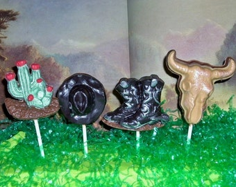 Chocolate Western Lollipops or Favors
