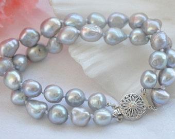 pearl bracelet - charm bracelet, double rows 8-9 mm gray/black Baroque freshwater pearl bracelet