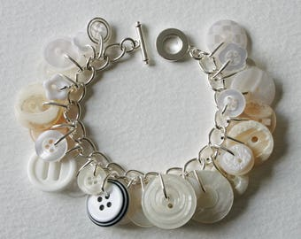 Button Bracelet Pearly Cream and White