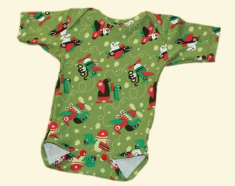 green organic cotton bodysuit with different animals flying in planes