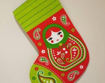 Christmas stocking, russian doll stocking, Christmas stocking, russian doll, babushka stocking, babushka decor