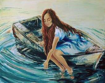 Romantic Wall Art A Girl in the boat Living Room Decor Unique Gift Waterscape Colorful Original Acrylic Art Teen's Room Art New Year Gift