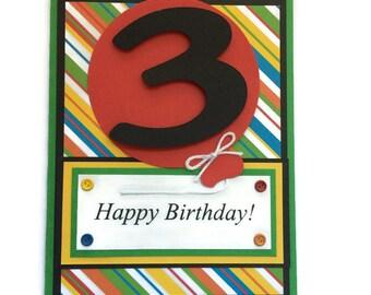 Kids Birthday Card, Happy Birthday Card, Balloon Card, Birthday Greeting Card, You Choose Age for Card