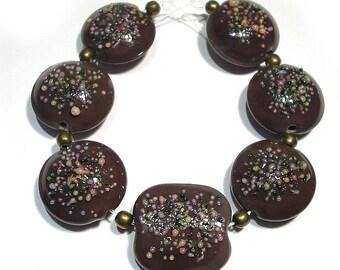 Handmade Lampwork  Glass SRA Beads,  Sprinkles Cocoa Mix