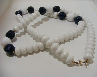 Vintage SIGNED Monet White, Navy and Gold Bead Necklace