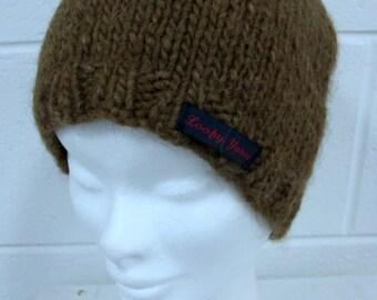 Brown Pure Wool Handknit Beanie Hat