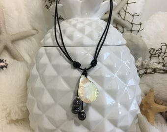 Iridescent Shell w/ Dark Pearl Necklace