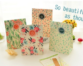 Paper Gift Bag Set - 02 Summer Bloom - 4 Pcs in different Patterns with seal