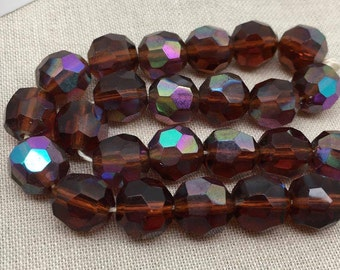 10 Vintage AB Topaz Amber German Faceted Glass Beads 10mm