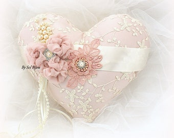 Wedding Heart Ring Bearer Pillow Blush Ivory Lace Ring Pillow Ring Cushion Vintage Style Ring Holder Unique Bridal Pillow
