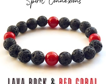 Volcanic Lava Rock With Red Coral Bracelet