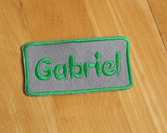 Iron-on Name patch, custom name, felt, smooth border, 4x2 inches, Monogrammed Personalised name tag, embroidered name patch F39