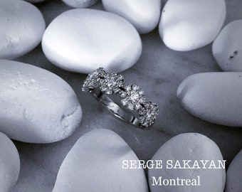 1 Carat Diamond Anniversary Ring Diamond Cocktail Ring Diamond Wedding Ring Diamond Halo Wedding Ring Diamond Flower Ring in 14K White Gold