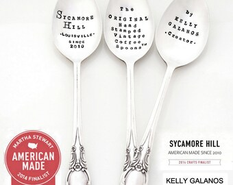 CUSTOM COFFEE SPOON. International Shipping. The Original Hand Stamped Vintage Coffee and Espresso Spoons™ by Sycamore Hill. Personalized