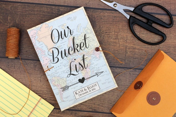 Bucket list journal personalized wedding anniversary or