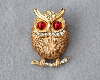 Great Horned Owl Figural Pin Vintage