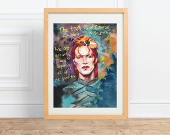 David Bowie, Portrait and Inspiring quote Painting\\ Rock and Roll Art\\ Ziggy stardust