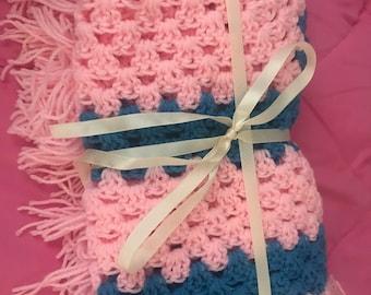 Handmade Crochet Baby Blanket Granny Square