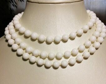 Multi Strand White Bead Necklace