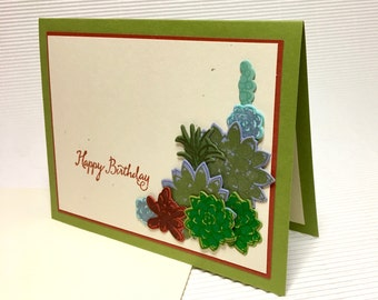 Happy birthday succulent card handmade stamped blank stationery greeting party supply pape