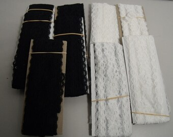 Lot of lace trim white - black and 1 aqua 12 packages