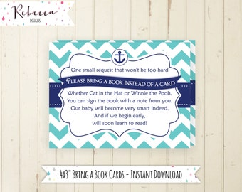 Bring a book card navy baby shower book insert printable anchor bring a book instead of card boy baby shower insert matching bring book 134