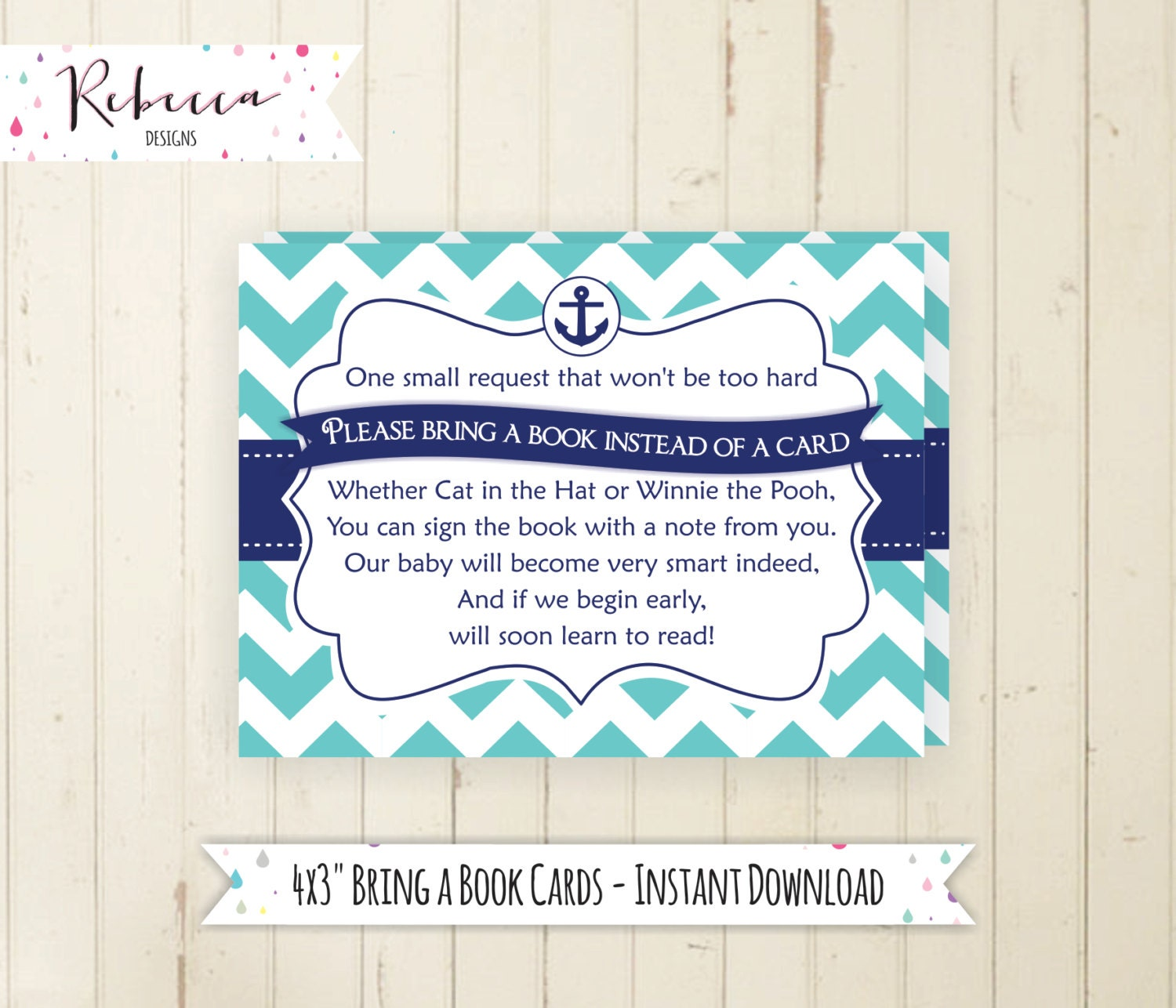 bring a book card navy baby shower book insert printable