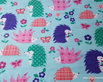 Flannel Fabric - Happy Hedghogs - By the yard - 100% Cotton Flannel