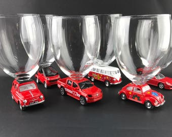 6 glasses on cars - set of six glasses/cars Red