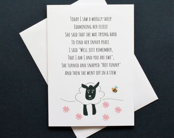 Funny sheep card, inner peace card, sheep poem, sheep poem card, peace poem card, grumpy card