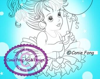SALE Digital Stamp, Digi Stamp, digistamp, Abbie by Conie Fong, Birthday, girl holding balloon, celebration, ballerina, tutu