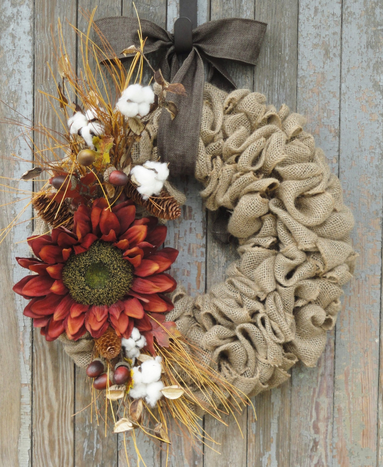 Fall Sunflower Wreath Fall Burlap Wreath Sunflower Grapevine