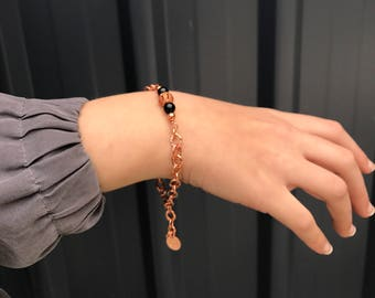 "Ready to ship! Solid copper and black onyx bracelet with stamped ""7"" tag, adjustable length, Perth Western Australia"