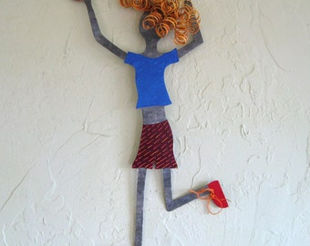 Metal wall art sculpture Vollyball lady recycled metal wall sports decor athletic figure  8 x 21