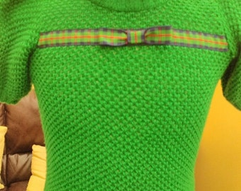 1940s Emerald green hand knit jumper/ sweater with tartan ribbon made from original pattern