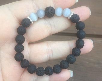 Gray Cat's Eye and Lava Rock Stretch Bracelet