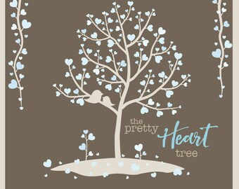 The Pretty Heart Tree - Digital Clip Art - Instant Download - Winter Beauty - Trees, Branches, Vines, and Birds