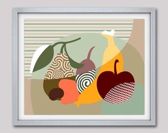 Fruit Art Print,  Fruit Illustration, Fruit Poster, Fruit Wall Art, Pop Art Poster, Kitchen Wall Art Print Decor