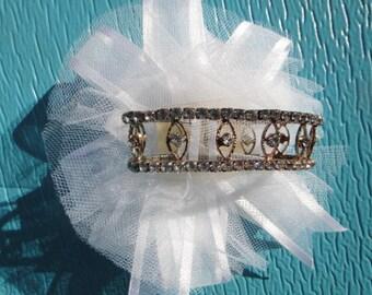 White Flower rhinestone Bracelet corsage , Prom corsage , Wedding Prom Silk Flower Wrist Corsage, Keepsake Corsage unused