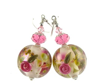 Handmade Lampwork Earrings, Floral Glass Bead Earrings, Glass Bead Jewelry, Pink Rose Flower Earrings, Lampwork Jewelry, Dangle Earrings
