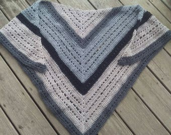 Women's triangle scarf - women's shawl- women's scarf- scarf- shawl- tan and grey shawl- tan and grey scarf- gifts for her