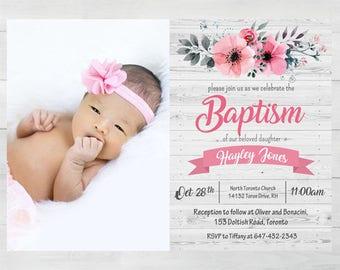 Custom Baptism Invitation Printable