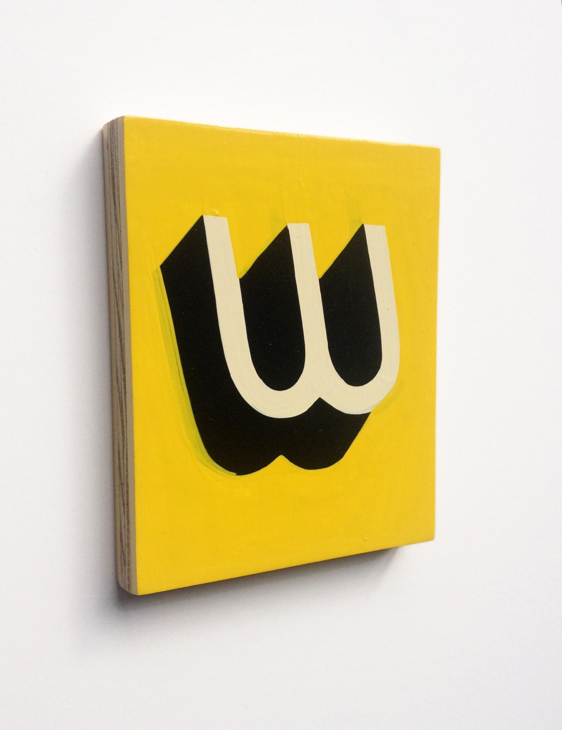 Black and Yellow Curvy Letter W